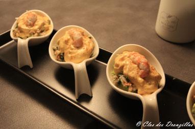 Verrine crabe de Kamtchatka, langoustine,  espuma au lait de coco