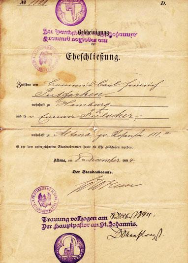 Die Heiratsurkunde der Familie Fülscher von 1894, die in der Altonaer Petri-Kirche geheiratet hatte. Quelle: Altonaer Stadtarchiv (c)