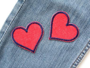 Bild: Herz Aufnäher rot, Jeansflicken zum aufbügeln