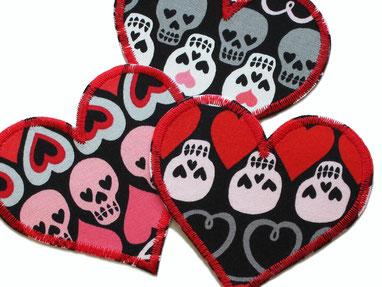 Bild: Herz Applikation Aufnäher Hosenflicken Patch Skull Totenkopf aufbügeln Accessoire Erwachsene Kinder
