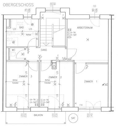 Grundriss mit Elektroinstallationen Obergeschoß