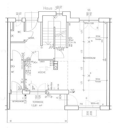 Grundriss mit Elektroinstallationen Erdgeschoß