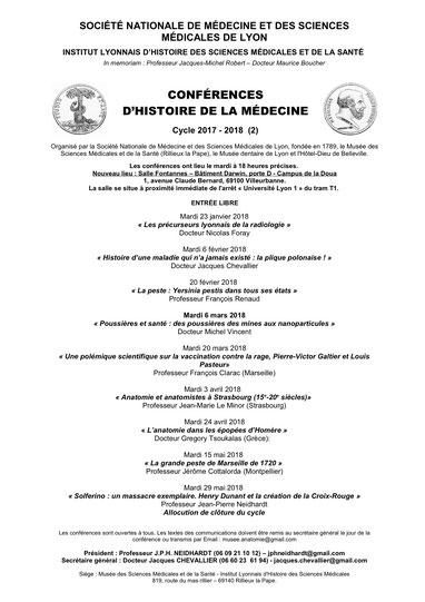 Programme des conférences pour le 1er semestre 2018 (un clic pour agrandir)