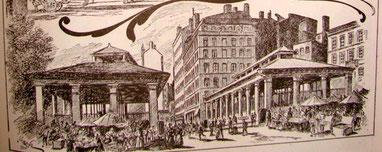 Les 2 halles vers 1900 (dessin)