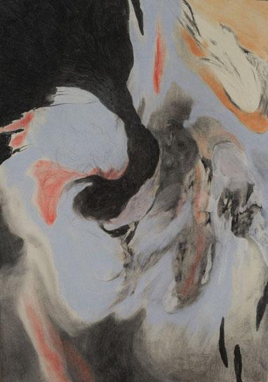 Undercurrent, 2017. Houtskool en pastelkrijt op papier, 100x70cm.