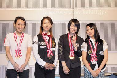 女子級。左から、3位米田理沙(前年度優勝シード)、2位佐原弘子(千葉)、優勝小西さみあ(東京)、3位平口結貴(北海道)