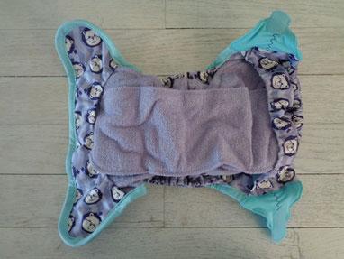 couche lavable Close Pop in bambou TE1 vue intérieure : insert et doublure