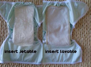 couche lavable TE2 hybride: culotte de protection en PUL avec un insert jetable puis avec un insert lavable