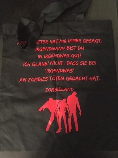 Beutel mit Zitat aus Zombieland