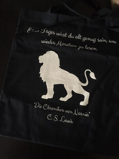 Stofftasche mit Narnia-Zitat