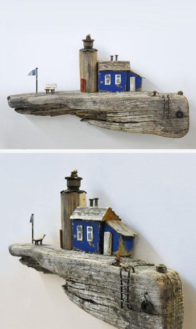 Christine Grandt - Treibholzkunst, maritime Geschenkidee zur Hochzeit Jubiläum, Geburtstagsgeschenk, Häuschen, Leuchtturm, Schwemmholz, Miniatur, Skulptur