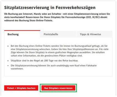Rail & Fly Ticket - Sitzplatzreservierung