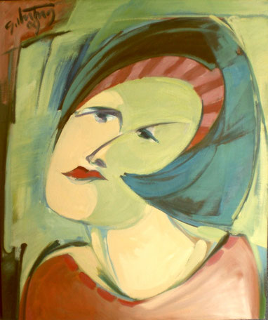 """""""Mädchen mit Stirnband"""", 2009, Öl / Leinwand, 60 x 50 cm"""