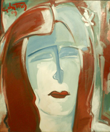 """""""Mädchen mit blauen Augen"""", 2009, Öl / Leinwand. 60 x 50 cm"""