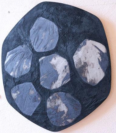 F. Barbéris, Plaque de métal, carborundum et encre de gravure, diam 80cm.