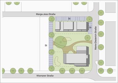 Grundstück der Baugemeinschaft im Hanseviertel III (Bild: planerkollektiv Architekten PartGmbB)