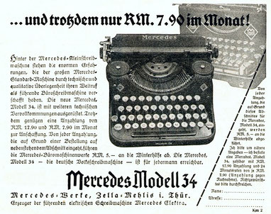 Advertisement for renting the Mercedes 34 typewriter