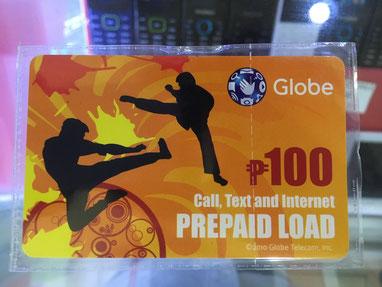 プリペイドカード。100ペソ〜500ペソのものがある。