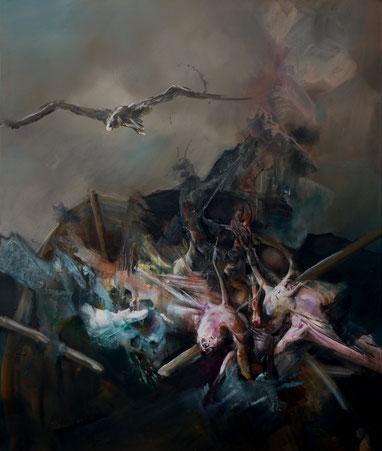 Traversée du Styx Acrylique sur toile Dim 120cmx100cm