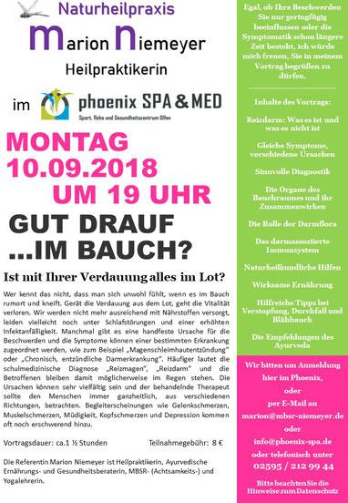 Marion Niemeyer Heilpraktikerin, Vortag: Gut drauf im Bauch? Praxis: Robert-Bosch-Str. 25, 59399 Olfen