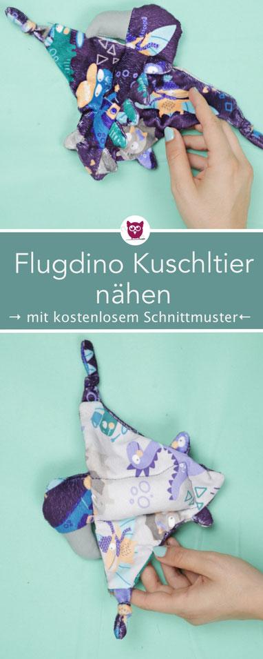 Flug dino Kuscheltier nähen mit kostenlosem Schnittmuster Schmusetuch für Babys nach DIY Eule aus Stoffresten