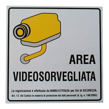 """Stampa """"area videosorvegliata"""""""