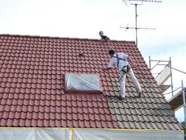 application résine colorée hydrofuge sur toiture