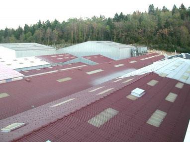 application resine colorée sur toiture fibro