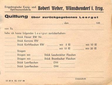 Bild: Wünschendorf Weber Leergut 1956
