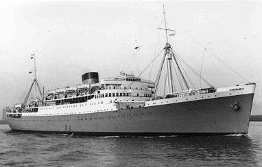 La nave britannica Durban Castle sulla quale Richard arrivò in Italia nel 1943