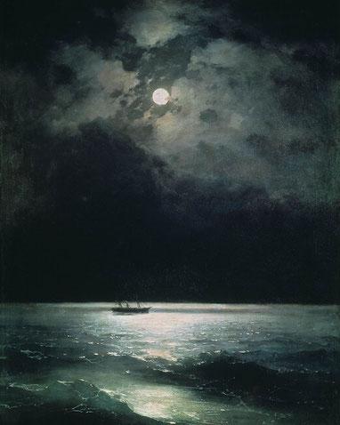 """Ivan Aivazovsky, """"Mar Nero di notte""""(1879)"""