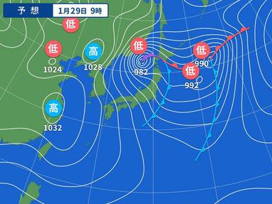 明日は冬型の気圧配置。やや北よりかな・・