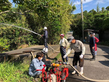 消火訓練も無事水が出ました~!大成功。