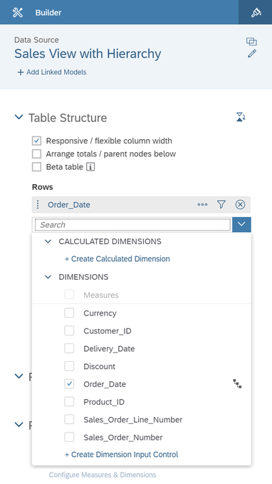 SAP Analytics Cloud Add dimension with hierarchy