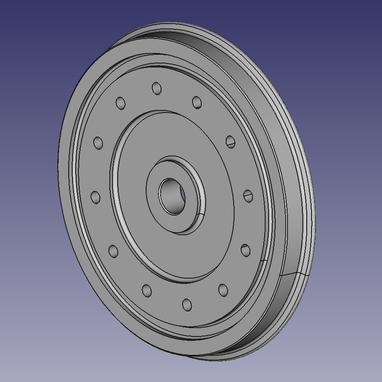 Geplante Ausführung des Lokrades, mit integrierter Bremsscheibe (gezeichnet mit FreeCAD)