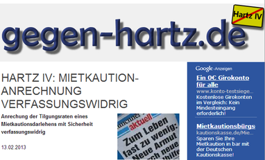 Hartz IV Mietkaution-Anrechnung verfassungswidrig 13.2.2013