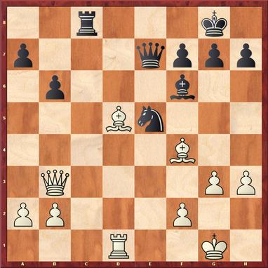 Straßner - Schymainski: Hier gewann Andreas mit 25.Lxe5 Lxe5 26.Te1! einen Bauern, da Schwarz aufgrund der Fesselung des Läufers den f7 Bauern nicht halten kann.