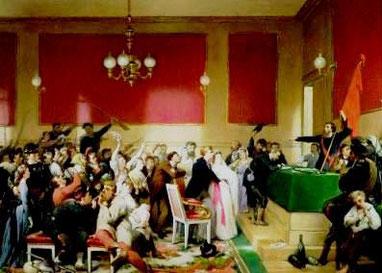 Møde i en af de talrige revolutionære klubber