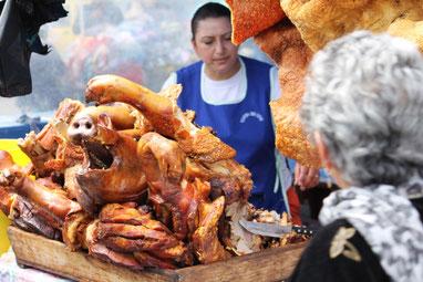 Saquisilí Schweinefleisch ist im Andenhochland sehr beliebt