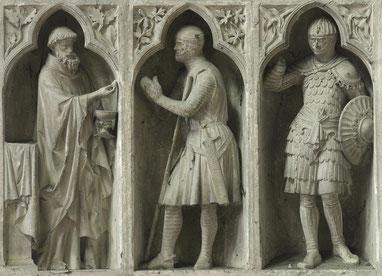 Scène de la « communion du chevalier » au revers de la façade occidentale (1250-1260) de la cathédrale Notre-Dame de Reims.