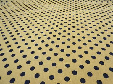 Reine Baumwolle, blaue Punkte auf beige