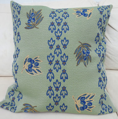 Kissenbezug Olivenzweige grüne Bordüre