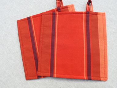 Topflappen Streifen rot-orange