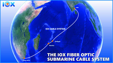 Le tracé du câble sous marin de fibre optique d'IOX et de MT.