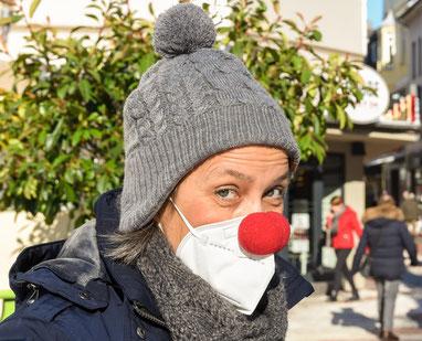 Karneval 2021 tanzte Birgit Kopal in der Steeler City dem Virus auf der Nase.