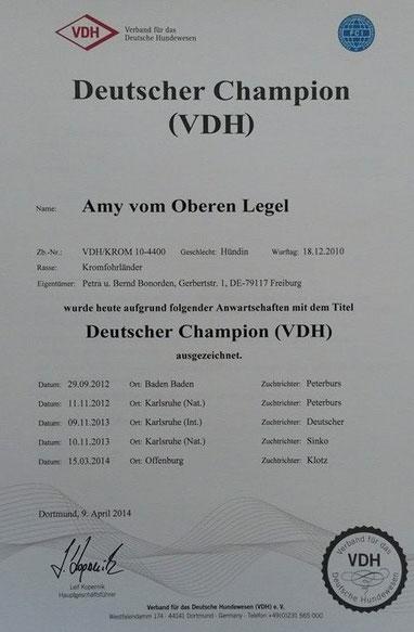 Wir freuen uns - Amy wurde mit dem Titel Deutscher Champion ausgezeichnet