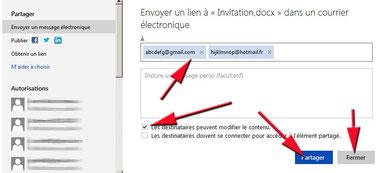 Saisie des emails pour partage