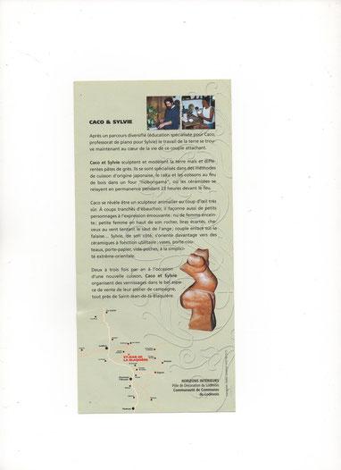 """Plaquette """" Caco et Sylvie """" - Horizons Intérieurs - années 2000"""
