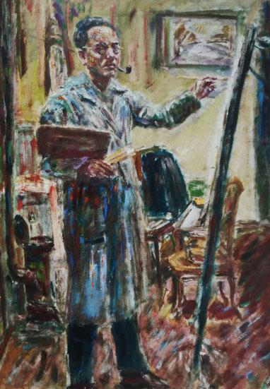 Robert Liebknecht, Selbstporträt im Atelier, um 1940.