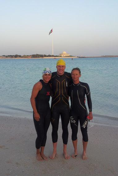 Mit Yvonne und Per beim Schwimmtraining....